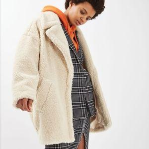 Topshop faux fur coat off white Size US 2